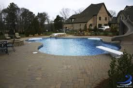 inground pools with diving board and slide. Large Lagoon Style Pool With Spa, Slide, And Diving Board Inground Pools Slide L
