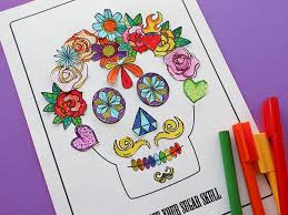 free printable decorate a sugar skull activity page my poppet makes