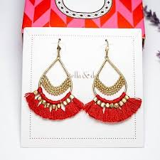 stella and dot roman chandeliers earrings red authentic fringe gold beads