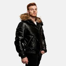 winter jacket fur hood mens luxury leather coat for men 3