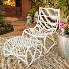 Safavieh Shenandoah White Wicker Chair and Ottoman Set Free