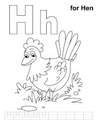 Small Picture H for hen coloring page with handwriting practice Download Free