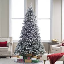 Flocked Blue Ridge Spruce Christmas Tree with Instant Glow Power ...