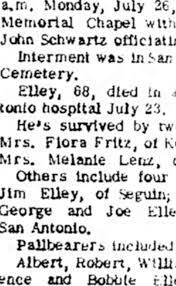 Flora Fritz is listed as a surviving sister of Hamilton Elley. -  Newspapers.com