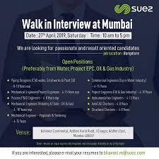 Autocad Designer In Mumbai Walk In Interview For Suez On 27th April 2019 At Mumbai For