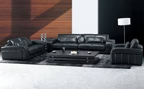 Living Room  Contemporary Black Leather Living Room Set With - Leather livingroom