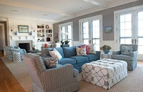 For a manhattan apartment, architect lee f. Blue And Grey Living Room With Brown Patterned Carpets Decolover Net