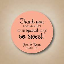 thank you tags for wedding favors thank you stickers wedding favor stickers special day so sweet