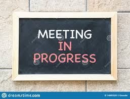 Words For Meeting Meeting In Progress Words Printed On A Blackboard Stock