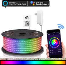 Light Strips That Work With Alexa Maxonar Led Strip Lights Works With Alexa Wifi Led Light Strip Rgb Multicolor Waterproof Ip65 Strip Light Wireless Smart Phone Controlled Diy Kit