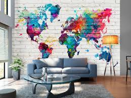 wall mural world map colourful wall 97545