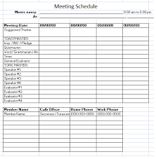 Schedule Of Meetings Template On Excel | Yearly Printable Calendar
