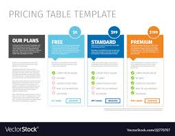 Pricing Template For Services Minimalist Pricing Table Template