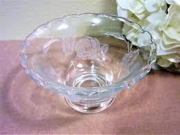 bowl heisey glass mayo vintage etched rose pattern pedestal mid century b1 by porcelainchinaart on