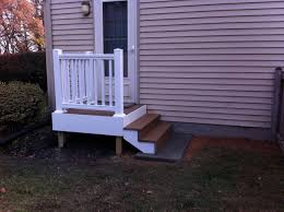 Back Door Steps With Landing Composite Decking And White