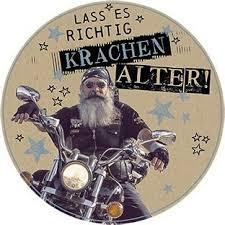 Runde Glückwunschkarte Geburtstag Rocker Auf Motorrad Laß Es