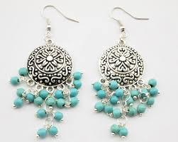 antique silver boho turquoise bead chandelier earrings