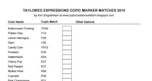 Charting The Match 2015 Joyful Creations With Kim Copic Marker Match Charts Updates