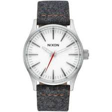 nixon a377 2476 sentry uni grey leather band with white og dial watch nwt