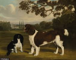 less william nedham s a toy spaniel and a springer spaniel in a landscape is just