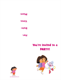 free printable birthday party invitations for girls dora the explorer free printable birthday party invitation
