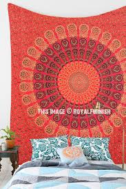 Vibrant Red Multi Peacock Wings Design Mandala Wall Tapestry, Boho Bedding