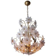 gilded brass and glass flower chandelier for