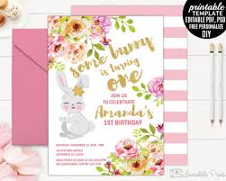 Bunny Birthday Invitation Blush Pink Floral Birthday