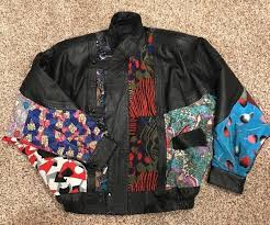 details about vintage toyo leatherwear patchwork and leather jacket black multi color sz m