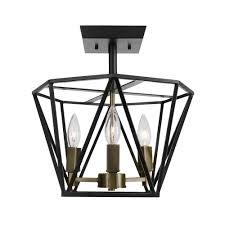 globe electric sansa 3 light dark bronze semi flushmount