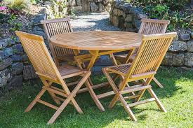 solid teak 1 2m circular folding garden table and chair set