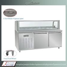 cheering 304 stainless steel and glass commercial restaurant sandwich refrigerator round arc sandwich prep table