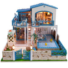 building doll furniture. Diy Dollhouse Large 3D Wooden Puzzle Full Set Furniture Model Building Educational Toys Doll House( P