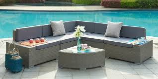 picture of valencia aluminum frame sectional outdoor sofa set with quarter round coffee table