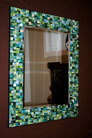 shades of green designed stained glass mosaic mirror