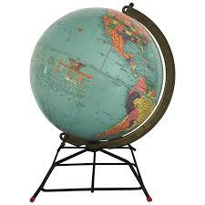 world globe on stand. Mid-Century Replogle Globe On Wire Stand World