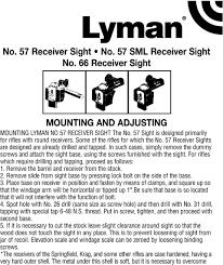 Lyman Front Sight Chart No 57 Receiver Sight No 57 Sml Receiver Sight No 66