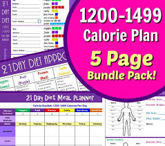 Calorie Tracker Chart 21 Day 1200 1499 Calorie Diet Plan Tracker Tally Sheets And Calorie Chart