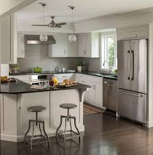 extra light gray kitchen cabinets with black quartz countertops