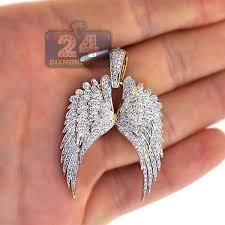 mens diamond two angel wings pendant