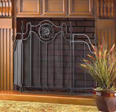 cast iron tuscan style black 3 panel folding fireplace screen decorative design