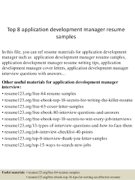 Top 8 application development manager resume samples In this file, you can  ref resume materials ...