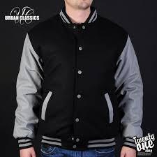 Куртка <b>URBAN CLASSICS</b> Half-Leather College Jacket (Black-Grey ...