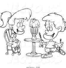 Small Picture Cartoon Vector of Cartoon Boy and Girl Sharing a Milkshake