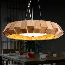 wood pendant light for rustic wooden southeast style dinning room idea 16