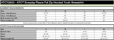 Hoodie Size Chart Gcc Atc Everyday Fleece Full Zip Hooded Youth Sweatshirt