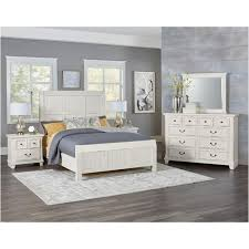 674-559 Vaughan Bassett Furniture Timber Creek - Distressed White Queen Timber Bed