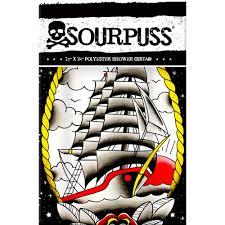 Skull Bedroom Curtains Clipper Ship Tattoo Shower Curtain Rockabilly Punk Retro Tattoo