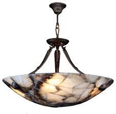 pompeii 4 light flemish brass finish natural quartz stone bowl pendant 24 round