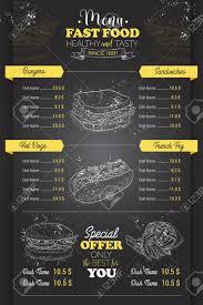 Menu Drawing Design Drawing Vertical Scetch Of Fast Food Menu Design On Blackboard